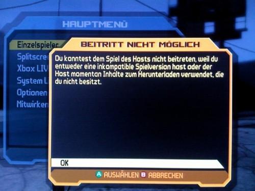 Probleme mit Borderlands DLC auf Xbox LIVE