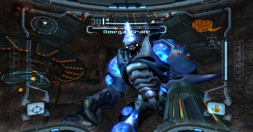 Metroid Prime 1: Fieser Omega Pirat macht einem ziemlich zu schaffen (Quelle: http://www.gamespress.com)