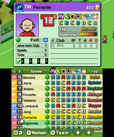 Nintendo Pocket Football Club Spielderdaten