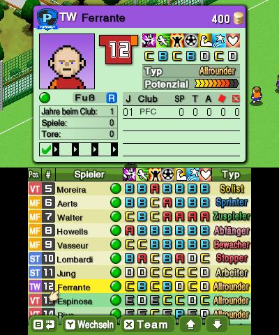Nintendo Pocket Football Club Spielderdaten