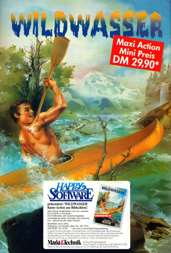"""Bild 6: Werbung für """"Wildwasser"""" in der Happy Computer, Ausgabe Juli 1984"""