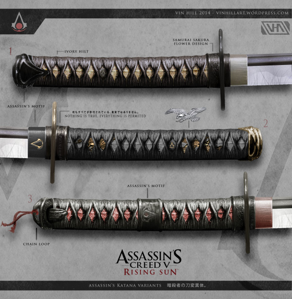 Assassin's Creed in Japan Assassin's Creed V: Rising Sun - Katanas - Artwork von Vin Hill