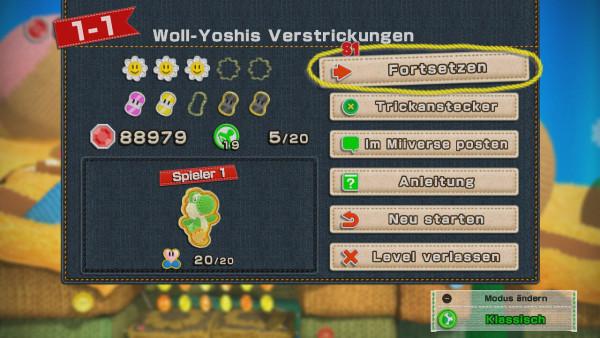 Screenshot Yoshi's Wooly World WiiU Levelcard