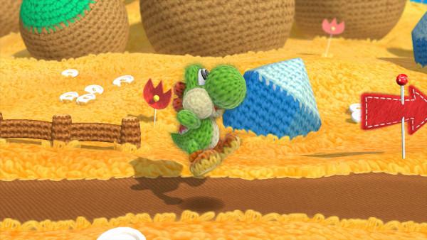Screenshot Yoshi's Wooly World WiiU grüner Yoshi